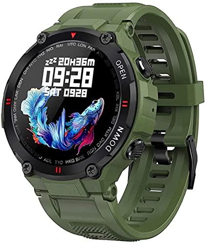 Reloj Inteligente Bluetooth Impermeable Deportes Militar Reloj Llamada y Mensaje Notificación Música Play Relojes Inteligentes-Verde