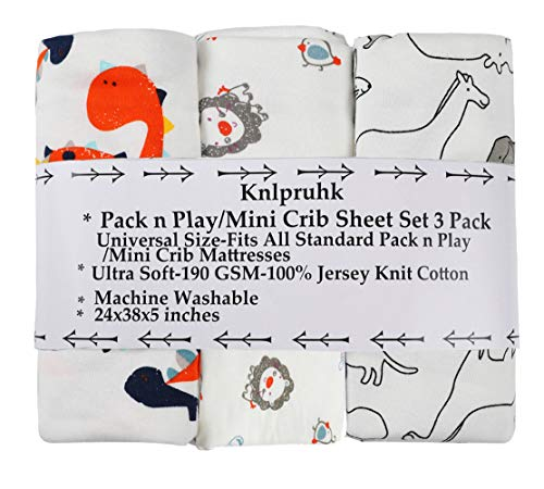 Pack n Play Playard Sheet Set 3 Pack 100% Jersey Knit Cotton 190GSM Fitted Portable Mini Crib Mattress Sheets for Baby Boy Ultra Soft Stretchy Cute Dinosaur Elephant Lion Horse Koala by Knlpruhk