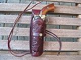 "Shotgun Lilli Western Express – Left Handed – 6"" Burgundy Tooled Leather Gun Holster (.44 .45 Caliber)"