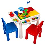 Sandinrayli 7-in-1 Kid Activity Table Set w/2 Chairs & 72Pcs Large Size Blocks, Compatible with Classic Blocks, Water/Sand Table, Building Block Table for Toddler (Primary)