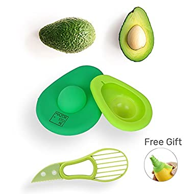 Avocado Saver and Slicer 3 in 1 - Avocados Holder Pitter Set, Green Storage Huggers Container| Remove Pit Safety Knife Tool Keep Fresh Tupperware Cover | Avo Savers and Holders + FREE GIFT Lemon Spray