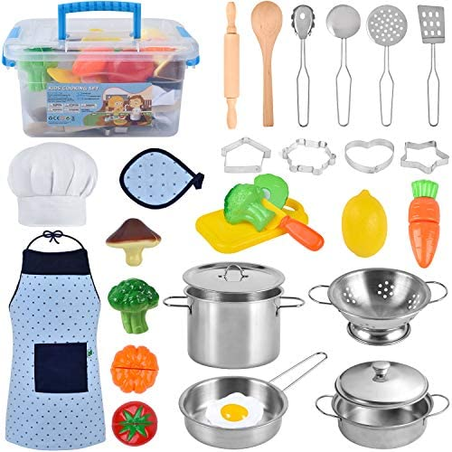 COSILY Kitchen Pretend Play Toys Kids Cooking and Baking Set with Stainless Steel Cookware Pots product image