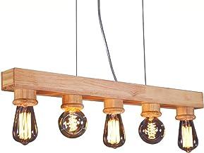 BDWN Industrial Wooden Chandelier Retro Rustic Suspension Lamp Wood Ceiling Pendant Light 5 Heads, Kitchen loft Dining Room bar Bedroom Hanging Lamp, E27
