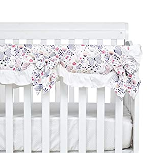 Brandream Baby Girls Blush Pink Butterfly Crib Rail Cover Boho Floral Long Front Rail Guard Pink& White Baby Teething Cover Crib Protector Wrap for Butterfly Nursery Bedding Decor,100% Cotton