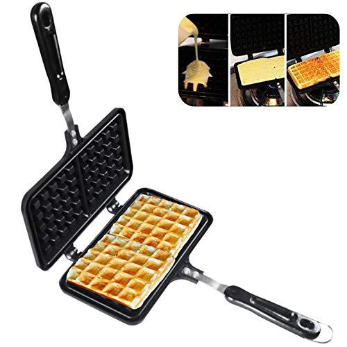 Waflera de doble cara de aluminio fundido Waflera de hierro fácil de limpiar y antiadherente de hierro Waffle prensa placa hogar suministros de cocina 22×12×3cm As Picture Show