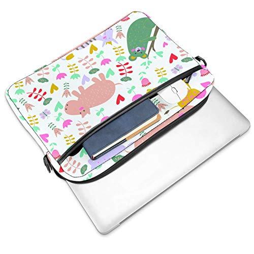 Laptop-Umhängetasche 38,1 cm Aktentasche Dokumententasche Kuriertasche mit Griff & Schultergurt niedliche Tiere Elefant Blume
