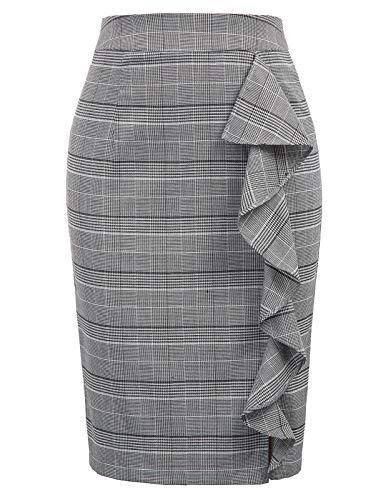 Women's Ruffle Knee Length Plaid Pencil Skirt for Office Wear L Plaid