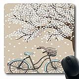 Alfombrilla para ratón de bicicleta Árbol floreciente de bicicleta oblongo con pequeñas flores blancas en primavera un dibujo de bicicleta Ilustraciones Gris amarillo Alfombrilla de ratón de goma anti