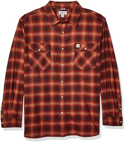 Carhartt Herren Big & Tall Rugged Flex Hamilton Snap Front Plaid Flannel Button Down Hemd, Braun (Henna), X-Large Hoch