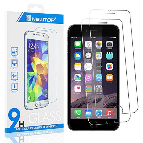 N NEWTOP [2 PEZZI] Pellicola Compatibile con iPhone 6 Plus e 6S Plus, GLASS FILM 0.3mm 9H Vetro Temperato Proteggi Schermo Display Anti Urto Protezione