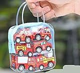 Tery Stick Bâton de Dessin Animé Mini modèle de Voiture d'ingénierie de 6 Pcs Enfants Pull Back Car Suit (Camion de Pompier)