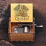 Queen Music Box - Nostalgish - Bohemian Rhapsody - Hand Crank Wooden Musical Box - Unique Gift (Wood, Queen - Bohemian Rhapsody)