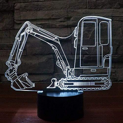 Grafmachine voertuig Bulldozer tractor nachtlampje 3D 7 speciale kleuren nachtlampje voor kinderen LED TouchUSBTablelamp-6