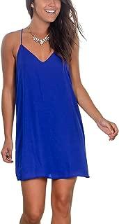 Womens Summer Sexy V Neck Mini Dress Spaghetti Straps Short Dress Beach Sundresses