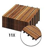 Hengda Holzfliesen 11-er Kachel Set,1m², geeignet als Terrassenfliesen und Balkonfliesen, aus Akazien Holz, 30x30 cm, für Garten Terrasse Balkon
