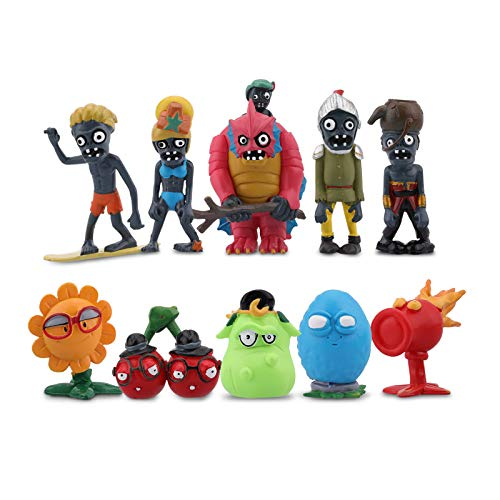 Maikerry 10 Pieces Plants vs Zombies 2 Series PVC Toys, Plants vs Zombies Garden Warfare 2 Gifts Zombie Toys for Kids and Fans