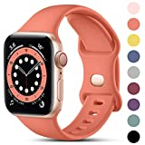 CeMiKa Compatible con Apple Watch Correa 38mm 42mm 40mm 44mm, Deportivas de Silicona Correas de Repuesto Compatible con iWatch SE Series 6 5 4 3 2 1, 38mm/40mm-M/L, Coral