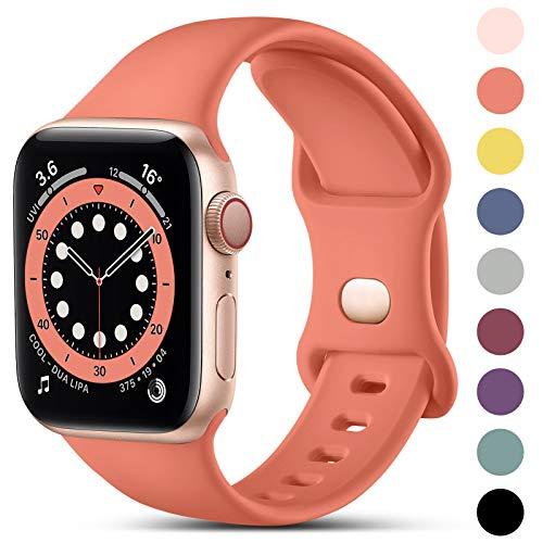 CeMiKa Compatible con Apple Watch Correa 38mm 42mm 40mm 44mm, Deportivas de Silicona Correas de Repuesto Compatible con iWatch SE Series 6 5 4 3 2 1, 38mm/40mm-M/L, Coral