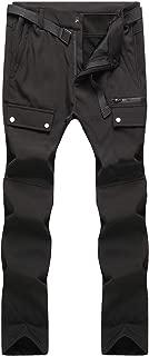 BenBoy Men's Outdoor Waterproof Windproof Fleece Cargo Snow Ski Hiking Pants (01 Black, S)