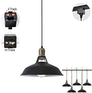 STGLIGHTING 1-Light H-Type Track Light Pendants Black Lampshade Restaurant Chandelier Decorative Pendant Light Industrial Factory Pendant Lamp Bulb Not Included