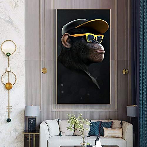 Geiqianjiumai Arte Gorila sabiduría Mono chimpancé Auriculares Cartel Animal Imagen Lienzo Pintura Sala decoración Imagen Mural Pintura sin Marco 60x100cm