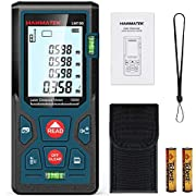 HANMATEK 328ft/100m Laser Measure Ft/In/M Switching LM100 Laser Measurement Tool Devices with 2 Bubble Levels Distance Meter,Large Backlit LCD and Pythagorean Mode, Carry Pouch and Battery Included