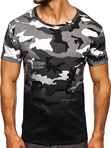 BOLF Hombre Camiseta de Manga Corta Estampado Impresión Escote Redondo T-Shirt Liso Camiseta de Algodón Print Crew Neck Logo Deporte Entrenamiento Estilo Urbano S808 Gris L [3C3]