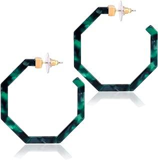 Acrylic Hoop Earrings Tortoiseshell Acrylic Earrings Geometric Resin Earring Studs for Women Girls