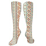 Compression Socks Women, Mexican Style Aztec Patterned Retro Hand Drawn Design Abstract,High,Colorful,Cute,Funny,Novelty,Graduated,Sports Stockings 50cm
