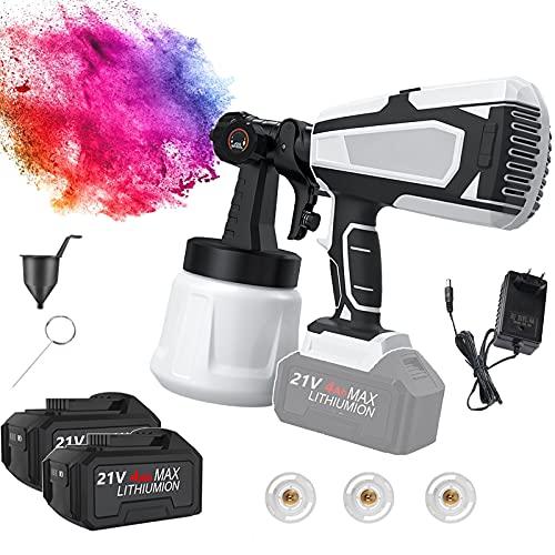 EUNEWR pistola de pintura eléctrica sin cable,Pistola de pintura profesional con 1000ml...