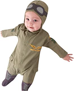 Baby Onesie, Toddler Pilot Two-Piece Layette Army Air Force Suit Jumpsuit Outfits Romper with Hat