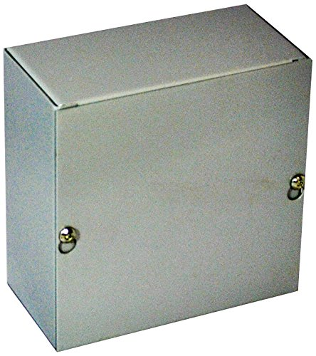 """BUD Industries JB-3950-KO Steel NEMA 1 Sheet Metal Junction Box with Knockout and Lift-Off Screw Cover, 4"""" Width x 4"""" Height x 3"""" Depth, Gray Finish"""