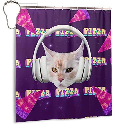 Cat Pizza Lover Duschvorhang 12 Haken Wasser im Hotelstil waschbar 66 x 72 Zoll schmutzabweisende Duschwanne für Badewannen