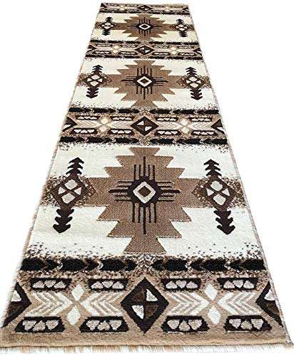 Southwest Native American Navajo Aztec Tribal Indian Ivory Carpet Area Rug (2 Feet X 7 Feet Runner)