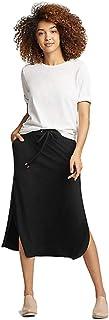 Eileen Fisher Faux Wrap Organic Linen Tie Waist Midi Length Skirt Ruset Brown