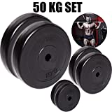 C.P. Sports - Juego de pesas para mancuernas de 50kg, placas de pesas diferentes, 30mm, 2 x 15kg + 2 x 7,5kg + 2 x 2,5kg