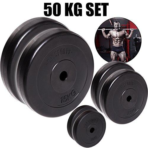 C.P. Sports - Juego de pesas para mancuernas de 50kg, placas de pesas diferentes, 30mm