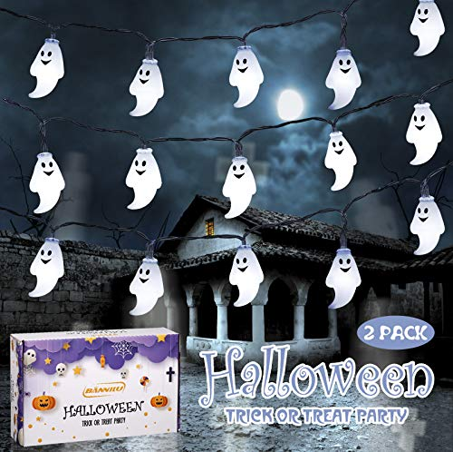 2 Pack Halloween Purple Ghost String Lights,13ft 30LED 2 Modes Battery Operated Halloween Lights,Outdoor Decoration Rope Lights for Patio, Garden, Gate, Yard, Halloween Christmas Decoration (Purple)