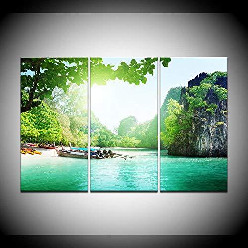 Yiyuay 3 LeinwandbilderWohnkultur drucken Bilder 3 Holzboot Natur Landschaft grün See Leinwand Wandkunst Poster Wohnzimmer Malerei-A- Ohne Rahmen: 30x50cmx3