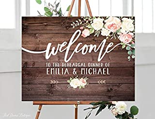Rustic Rehearsal Dinner Welcome Sign, Rehearsal Wedding Sign, Welcome Wedding Poster, Horizontal, Landscape, Blush and White Flowers