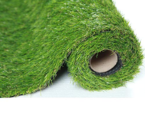 SUMC Artificial Grass Mat Carpet Outdoor Fake Grass Lawn of Green High Density Natural Realistic Looking Garden Turf for Dogs Pets 30mm Pile Height (1M*4M)