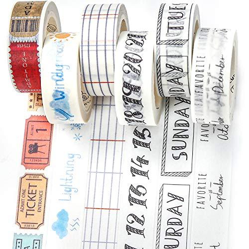 PuTwo Washi Tape, 6 Rollen Washitape, 15mm Washi Tape Set, Klebeband Bunt, Washitape, Washi Tape, Japanisches Washi Tape, Washi Tape für Tagebuch, Dekoratives Tape für Kunsthandwerk