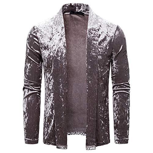 Herren Cardigan Jacke Langarm Casual Einfarbige Jacke Herren Freizeit Microfleece Cardigan Classic Loose Jacke Revers Jacke Tops S
