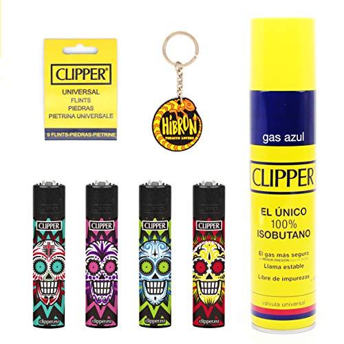 HIBRON Clipper 4 Mecheros Encendedores Diversos Surtidos Bonitos, 1 Carga Gas Encendedor Clipper 300 Ml,9uds De Piedra Clipper Y 1 Llavero Gratis 1-10003-10