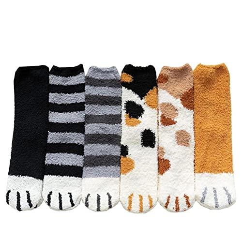 Winter Floor Sokken Slipper Socks Cat klauwen leuk Warm Animal Fluffy for Women Girl 6 stuks