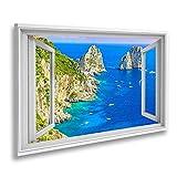 Bild auf Leinwand Fensterblick Faraglioni Klippen Panorama