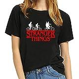 Camiseta Stranger Things Niña, Camiseta Stranger Things Niños Unisex Mujer Impresión T-Shirt Manga Abecedario Stranger Things Impresión Regalo Camisa Verano Camisetas y Tops (Negro-4,S)