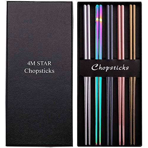 4M STAR - Palillos de acero inoxidable 304 reutilizables, multicolores, ligeros y multicolores Palillos de metal Juego de regalo de 5 pares