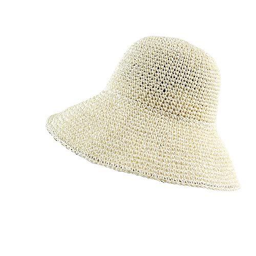 Sombrero de verano para mujer, estilo retro, plano, de paja, hecho a mano, para protección solar, para la playa, para pescador (color: escritura, tamaño: 56 x 58 cm)