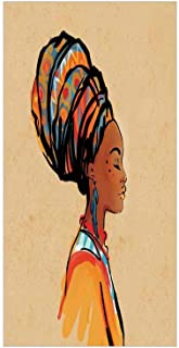 Ylljy00 Decorative Privacy Window Film/Ethnic Woman with Exotic Feather Earring and Scarf Zulu Hippie Artwork/No-Glue Self Static Cling for Home Bedroom Bathroom Kitchen Office Decor Caramel Merigold